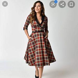 Unique vintage 1950s plaid swing dress
